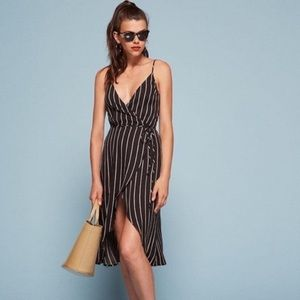 Reformation Anouk Wrap Dress in Luciano Stripe XS